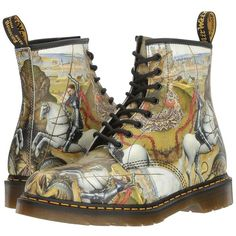 Dr. Martens 1460 (Multi George/Dragon Backhand) Lace-up Boots (€125) ❤ liked on Polyvore featuring shoes, boots, real leather boots, leather boots, horse boots, horse shoes and laced boots