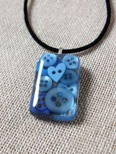 Blue Button Resin Pendant Necklace - Seaside Blue - Heart Button