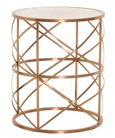 Brushed Rose Gold Chloe Round End Table