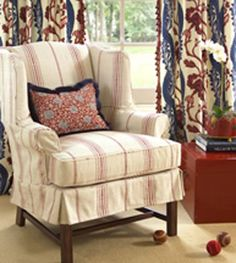linen wing chair living room - Google Search