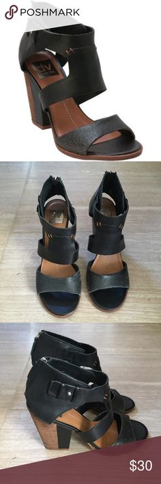 "Black Heeled Sandals Dolce Vita Black Heeled Booties 4"" Heels Size 7.5 , fits true to size Great Condition, worn twice Zipper on the back, does not hurt ankle Front strap is ""cracked"" leather, suppose to look like that Dolce Vita Shoes Heels"
