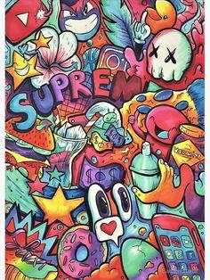 Supreme // copic marker doodle by eadanshamir Cute Doodle Art, Doodle Art Designs, Doodle Art Drawing, Poster Drawing, Graffiti Doodles, Graffiti Drawing, Graffiti Lettering, How To Draw Graffiti, Graffiti Alphabet