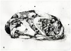 Simon Prades  Trier, Germany  Chaos und Ordnung  Ink on paper, each 50 x 70 cm, 2010    Images of daily newspapers  have been collected and arranged in large ink drawings,  filling shapes of three animals with disasters of the human race.