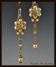 Beadwoven Beaded Beadwork Crystal Flower by beadedartjewelry, $25.00