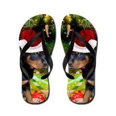Christmas Rottweiler Puppy Flip Flops  waterproof thong flip flops
