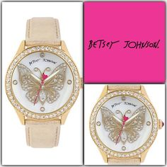 Betsey Johnson Butterfly Watch Leather Strap Butterfly motif dial and metallic leather strap watch Gold tone case set in crystal White Mother of Pearl dial with crystal accented butterfly motif Crystal hour markers Gold metallic genuine leather strap Signature Betsey Johnson fuchsia second hand Water resistant: 3ATM Buckle closure Case Size: 42.5mm Case Thickness: 13mm Strap Length: 150-205mm Strap Width: 20mm Betsey Johnson Accessories Watches