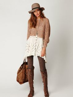 Speckled pullover, Voile trapeze slip, and Joe lace up boot - love it!