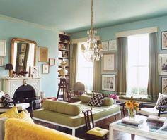 Aqua, Eclectic Living Room