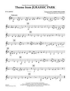 Theme from Jurassic Park - Bb Clarinet - Helena Beginner Violin Sheet Music, Alto Sax Sheet Music, Saxophone Music, Easy Piano Sheet Music, Song Sheet, Bass Clarinet, Cello, Music Sheets, Piano Songs