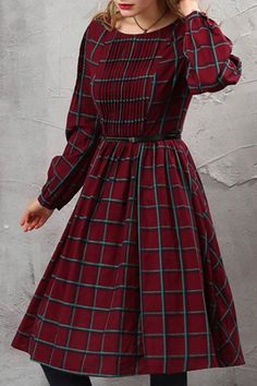 Tartan Pattern Pleated Tunic Dress with Belt