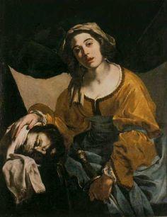 "Bernardo Cavallino, ""Judith with the Head of Holofernes."" c.1600, oil on canvas, 101 x 94 cm, Nationalmuseum, Stockholm, Sweden"