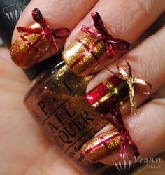 Christmas Gift Nail Art - So Cute! - OPI Goldeneye and Kleancolor Metallic Red
