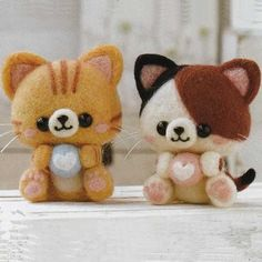 DIY handmade Wool Felt kit Calico cat & Yellow by 1127handcrafter                                                                                                                                                                                 Mais