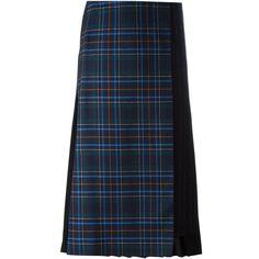 Cédric Charlier pleat back plaid skirt ($995) ❤ liked on Polyvore featuring skirts, black, tartan plaid skirt, plaid skirt and tartan skirt