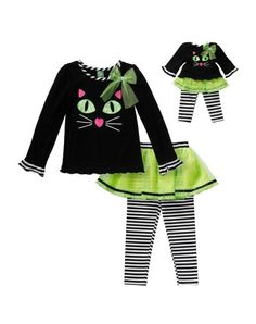 """Halloween Kitten"" Leggings Set with Matching Outfit for 18 inch Play Doll"