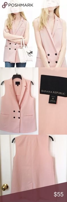 Banana Republic Double Breasted Blazer Vest Pink ❤️ This listing is for a super cute double breasted long lined vest. This vest is on-trend and features a longer length, notch collar and is sleeveless. Also features three exterior pockets, center back vent, and is partially lined. Hits bellow the hip. Brand new without tags, this gorgeous pink vest is free from damage or wear. Made from 68% Polyester, 30% Rayon, 2% Spandex. NWOT. No trades. ❤️ Banana Republic Jackets & Coats Vests