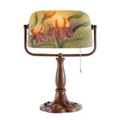 Banker Lamp with Floral Glass Shade Table Lamp Bankers Lamp, Glass Shades, Table Lamp, Lighting, Home Decor, Floral, Products, Table Lamps, Decoration Home