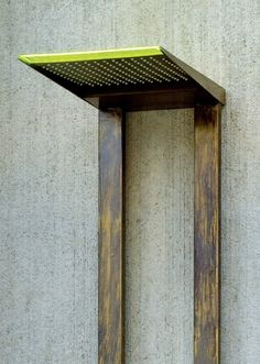 """Even the """"bath"""" people out there will appreciate the simple appeal of these cool rustic outdoor showers by Tender Rain. Simple geometry and minimalist details [. Rustic Outdoor, Home Projects, Outdoor Living, Minimalist, Shower Designs, House Design, Simple, Shower Ideas, Rain"""