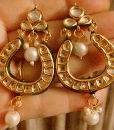 Buy kundan royal gold plated earrings danglers-drop online