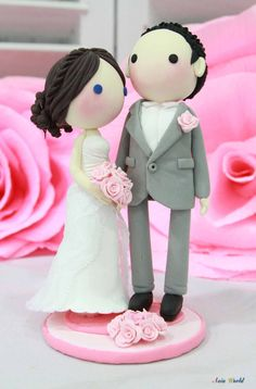 Wedding Cake topper Pink theme lace strapless wedding dress clay doll, clay couple decoration, clay figurine, clay miniature ring holder