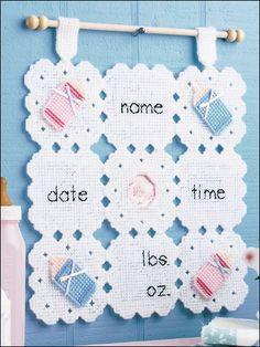 Baby announcement banner in plastic canvas - would also be cute in regular counted cross stitch! Plastic Canvas Christmas, Plastic Canvas Crafts, Plastic Canvas Patterns, Nursery Patterns, Baby Patterns, Cross Stitch Baby, Baby Shower, Baby Decor, Nursery Decor