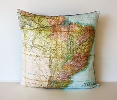 Vintage map of Brazil pillow