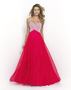 BLUSH PROM 9905 Cerise Dance the night away in this Blush Prom original. This captivating dress has a sweetheart neckline and patterned bodice covered in sequins and stones. Floor length chiffon skirt flows into a sweeping train. Back zipper closure. Available in Apple Green, Turquoise, and Cerise.