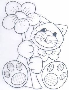 excellent image for a felt project, or paper crafting Cat Applique, Applique Patterns, Applique Quilts, Quilt Patterns, Cat Coloring Page, Coloring Book Pages, Embroidery Stitches, Embroidery Designs, Cat Template