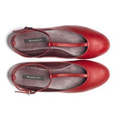 Red t-strap ballet flats by @newbark