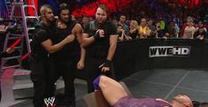 oncetwiceandoveragain:  The Shield after their blackout attack on Ryback.