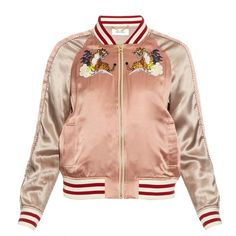 Muveil Embroidered silk bomber jacket (10,670 MXN) ❤ liked on Polyvore featuring outerwear, jackets, tops, bomber jacket, coats, flight jacket, blouson jacket, embroidered bomber jackets and red silk jacket