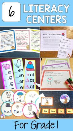 Literacy Centers (First Grade) Graphing Activities, First Grade Activities, Library Activities, Word Work Activities, Classroom Activities, Reading Activities, Centers First Grade, First Grade Phonics, Teaching First Grade