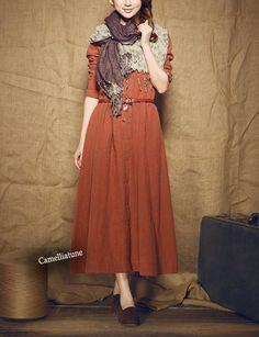 Winter Dress in burt orange / long linen dress - custom made