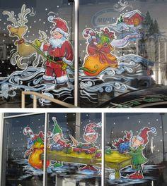Santa's workshop window painting