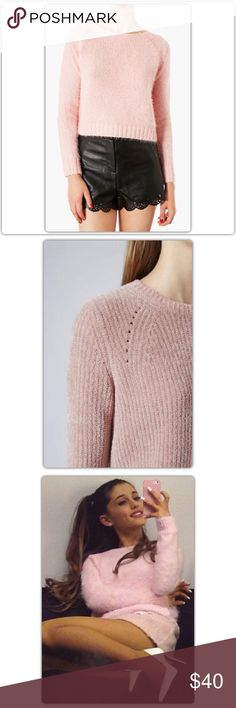 Topshop Pink Knitted Fluffy Crop Jumper Soft and gorgeous pink fluffy crew-neck sweater. US size 4. Great condition. As seen on Ariana Grande!  Bundle 3 items and get 25% OFF. Offers welcome. No trades please  Topshop Sweaters Crew & Scoop Necks