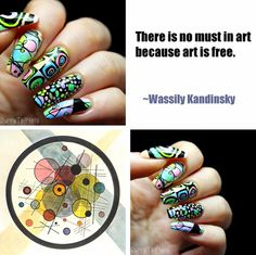 BunnyTailNails: Artsy watercolors inspired by Kandinsky