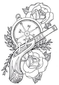 Steampunk coloring pages by Rickey Flash Art Tattoos, Chest Tattoo Flash, Chest Tattoo Drawings, Skull Stencil, Tattoo Stencils, Colouring Pages, Coloring Books, Adult Coloring, Tattoo Oma