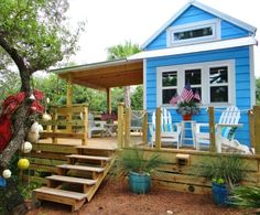 Tiny House Cottage by the Beach... now with an expanded deck! Beach Bliss Living: http://beachblissliving.com/tiny-house-cottage/