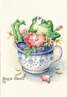 Your place to buy and sell all things handmade Funny Frogs, Cute Frogs, Frog Pictures, Frog Art, Cat Tat, Frog And Toad, Cute Drawings, Cute Art, Whimsical