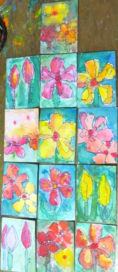 watercolour and ink ATCS by Kat Gottke 28th april 2015