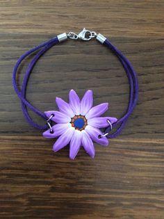 Bracelet polymere fleur violette bracelet cuir acier inox par VoyL Acier  Inox, Fleurs Violette, 170c7b47daa