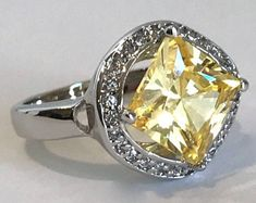 Vintage Sterling Silver Citrine and Pave Halo Estate Jewelry Ring Yellow Stone Ring Floating Stone Ring Halo Ring Multi Stone Ring