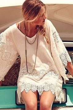 Boho chic white lace dress #kimbalikes