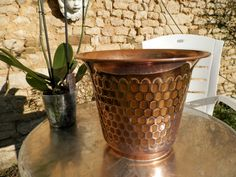 Antique French Copper Planter. Vintage Copper Planter. 1930s. Villedieu Copper Pot..  *********  A Beautiful Vintage French Copper Flower Planter.. Made in France at Villedieu, in the Art Deco Period.. 1930s.  This is a stylish, solid copper planter, elegantly shaped and stamped with the makers mark,  GAOR, Villedieu.  Made by a skilled French artisan coppersmith.. this planter is superbly constructed in thick sheet copper. With a stunning Honey Comb pattern all around, and a lustrous…