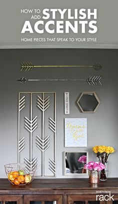 """Wall accent ideas are as easy as D-I-Y. Home décor should speak to your sense of style and compliment other colors in your home. Wall accents can be inspired from travel adventures, your favorite shapes & patterns, or inspirational quotes that remind you to stay a """"free spirit"""". Compliment your new, DIY home decor with bright flowers and fresh fruit to add another layer of interest and personal style. Find home décor that inspires you by shopping the latest selection at Nordstrom Rack."""