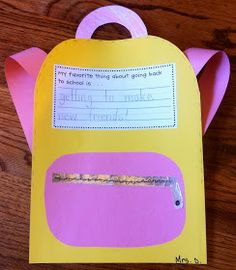 Teacher Idea Factory: BACK AT IT - BACK TO SCHOOL CRAFT You could use manila envelope and kids could share with one another favorite subjects, favorite activities, colors, films, etc...