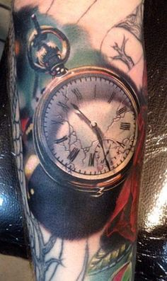Beautiful Pocketwatch Tattoo by Phil Garcia