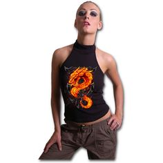 Womens FIRE DRAGON Halterneck Top Black Shop Online From Spiral Direct, Gothic Clothing, UK