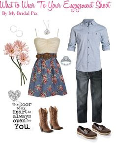 """""""What To Wear To Your Engagement Shoot"""" by www.mybridalpix.com on Polyvore"""