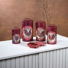Food Safe Red Rooster Kitchen Canisters